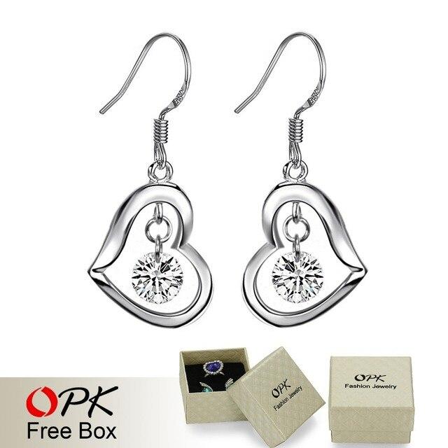 OPK JEWELRY 925 silver sterling earring  reatail heart earring drop Jewelry  586
