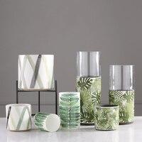 Creative painted Ceramic Banana Leaf vitrified Candle Holder iron frame Nordic Home creative wedding Decoration