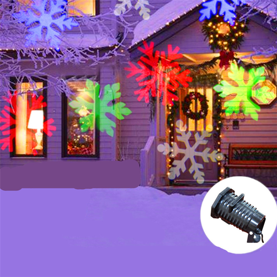 Outdoor Snowflakes Laser Projector 10 Types Moving Pattern Stage Light Garden Landscape Halloween Christmas Party Lights christmas elk snowflakes printed wall stickers