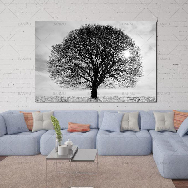Wall art pictures canvas painting prints tall trees forest nordic natural wall pictures living room art decoration no frame in painting calligraphy from
