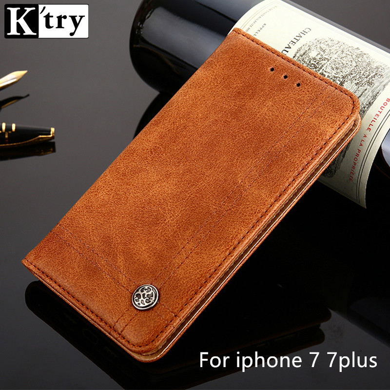 KTRY For iphone 7 7plus Case Luxury PU Leather Silicone Cover for Apple iphone 7 7plus Flip Stand Phone Bags