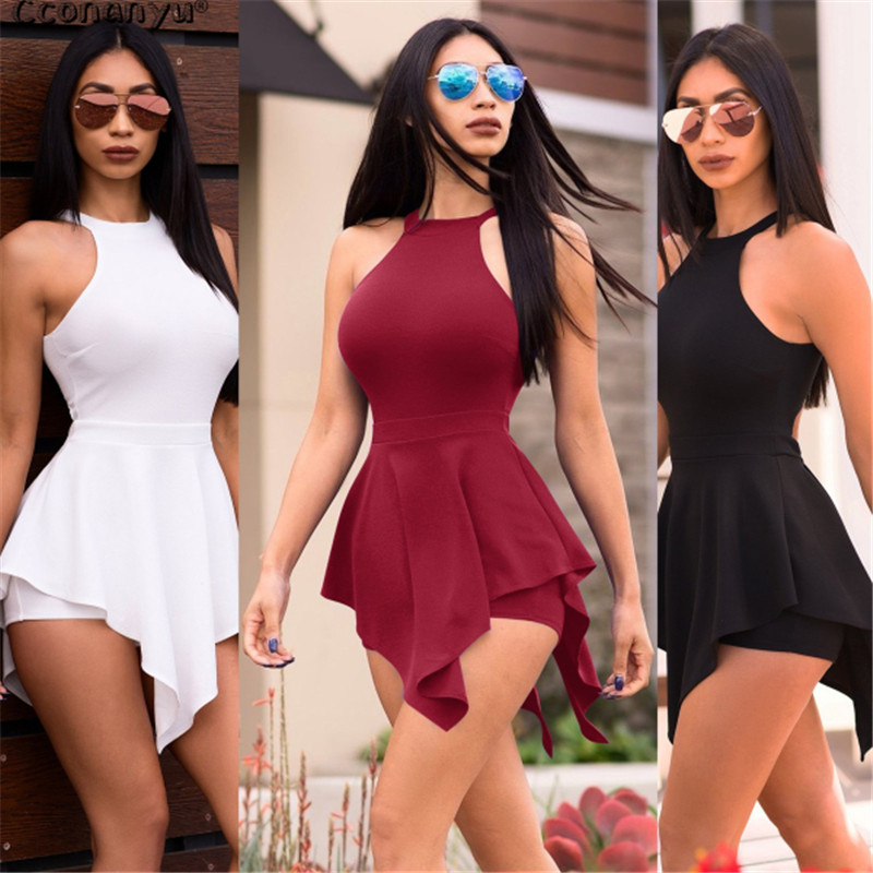 2019 Casual Playsuit Summer Women Beach Jumpsuit Skinny Sexy Ruffles Elegant Slim Women Clothes White Black Sexy Short Pants