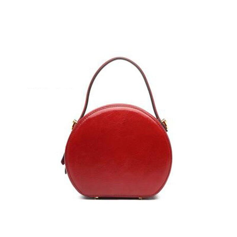 Женские сумки из натуральной кожи, новинка 2019, небольшая круглая сумка с контрастным цветным принтом, модная сумка через плечо, сумка через ... - 4