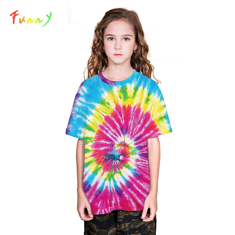 Kids Tops Tee-Shirt Short-Sleeves 3d-Printed Fashion Summer Tie Camisetas Dyeing Fille