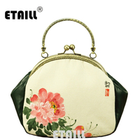 ETAILL Vintage Chinese Style Small Clutch Bags Peony Hand Painted Cheongsam Matched Bag Lady Dinner Bags Cotton Linen Handbag