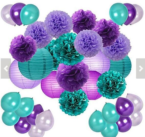 Us 18 99 Mermaid Party Decor Under The Sea Party Supplies 48pcs Teal Lavender Purple Pom Poms Lanterns Balloons For Birthday Party Decor In Party