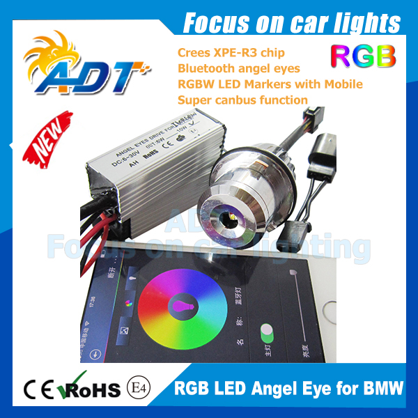 1set RGBW remote for BMW E87/E39 M5/E60 M5/E61/E63/E64/E65/E66/E83 X3/E53 X5 20W LED Crees RGB Angel Eye by Blue tooth Marker