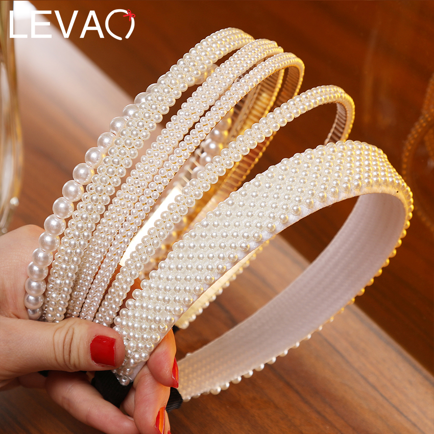Levao Elegant Big Simulation Pearls Hair Hoop Headband Hair Bands For Women Headwear Pearl Beads Hairband Hair Accessories
