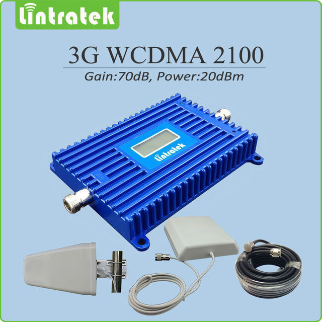 Full set 3G signal booster Gain 70dB LCD display 3G 2100mhz HSPA UMTS WCDMA signal repeater with Antenna and cable