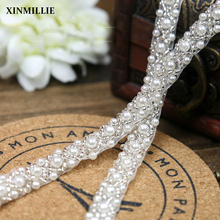 5yards/Lot White Pearl Beaded Trims Wedding Decoration Sew On Collar Ribbon 1cm Width For Jewelry Headpiece Belt DIY Accessories
