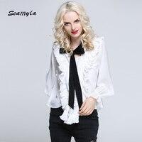 Seamyla 2017 New Runway Blouse Sexy Long Sleeve Ruffles Bow Blouses Women White Black Fashion Casual