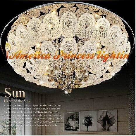 Lampe de plafond en cristal lampe de chambre éclairage de restaurant méditerranéen rond, matériau acier inoxydable, E27, AC110-240V