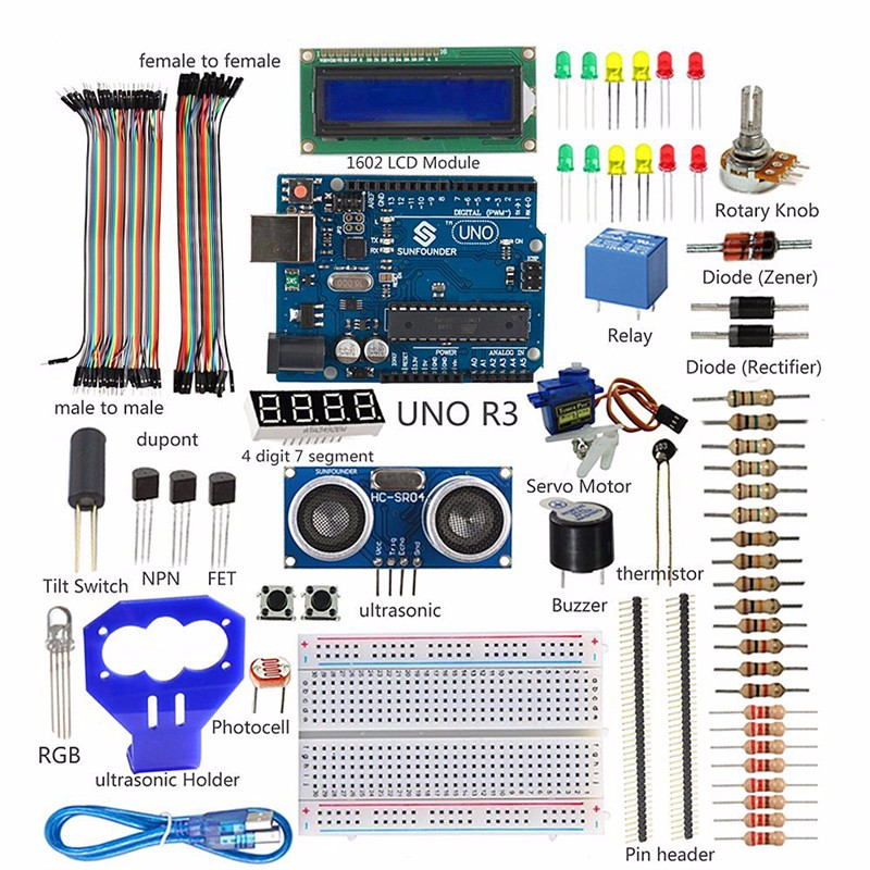 SunFounder LCD Ultrasonic Relay Sensor Electronic Bricks Starter Kit ...