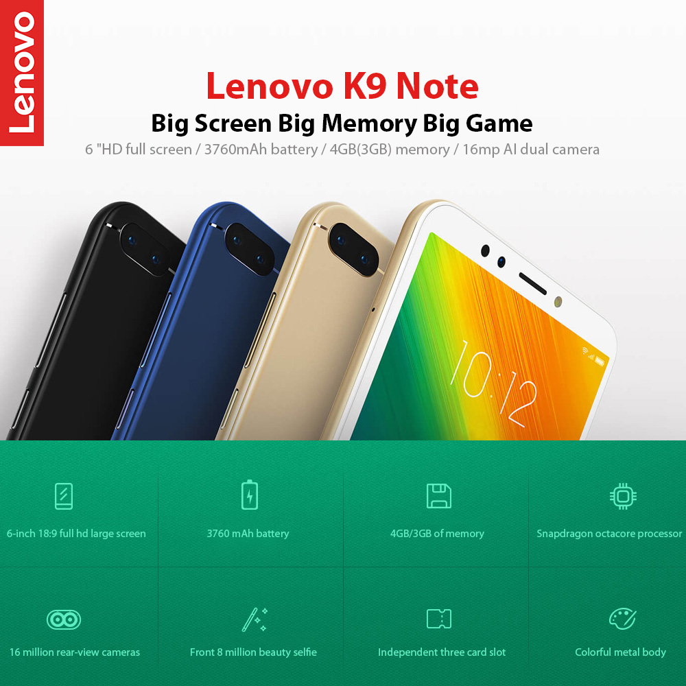Global Version Lenovo K9 Note 6 inch Smartphone Snapdragon Octa Core Face ID Cellphone (1)