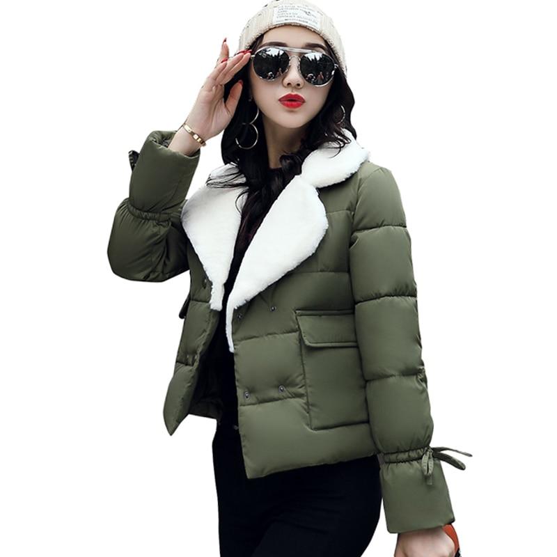 d26b8c676de 2019 отложной воротник для женщин зимнее пальто женская верхняя одежда дамы  толстые теплые короткая куртка Тонкий