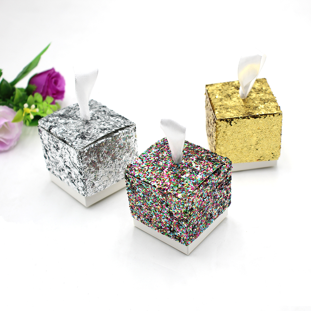 50pcs Glitter Box Wedding Party Gift Favors Box Festive Party ...