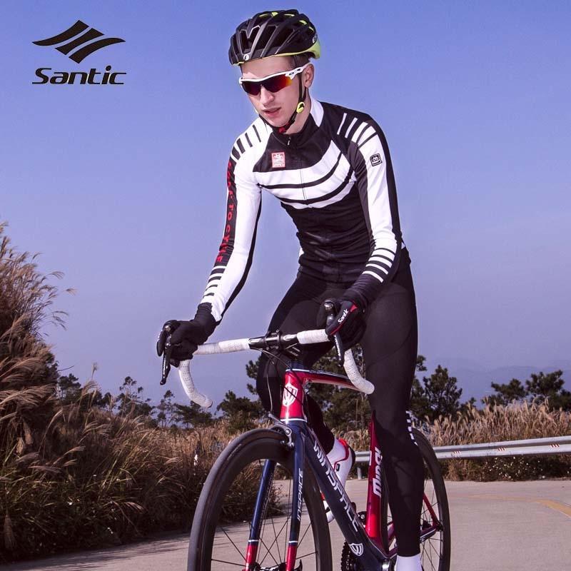 цена Santic Men Cycling Jersey Set 2018 Winter Fleece Thermal Cycling Clothing Road Mountain Bike Wear Bicycle Clothes Ropa Ciclismo онлайн в 2017 году