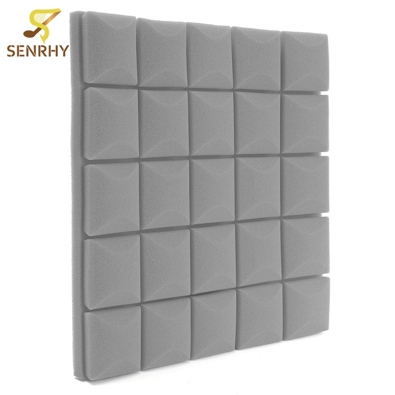 5PC Gray 500x500x50mm Acoustic Sound Stop Absorption Egg Shell Shape Pyramid Studio Soundproof Foam Sponge Drum Room Accessories