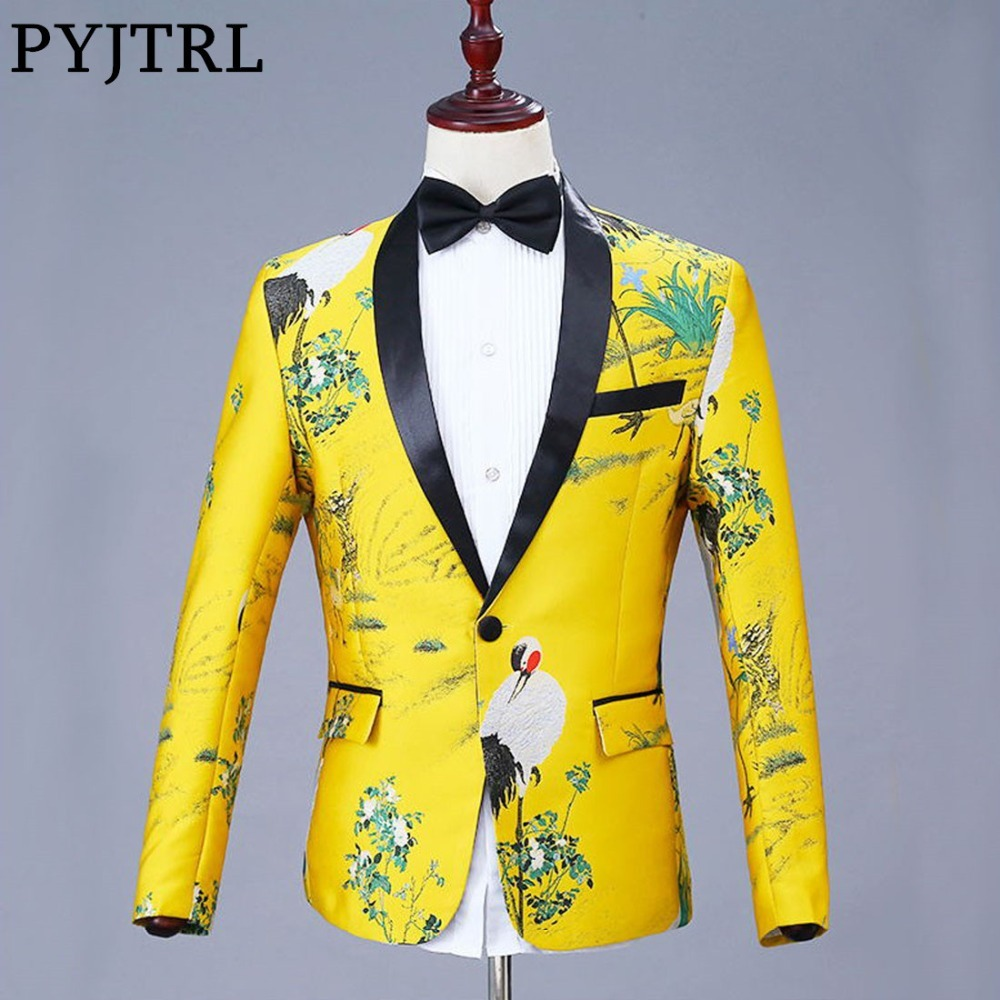 PYJTRL Mens Fashion Shawl Lapel Jacquard Red-crowned Crane Blazer Gold Yellow Party Singers Costume Wedding Groom Suit Jacket
