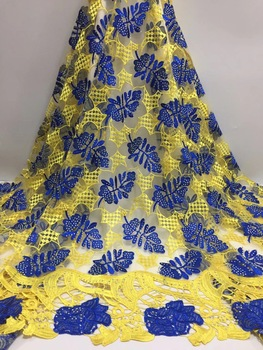 BEAUTIFICAL net lace fabric yellow african french lace fabrics rhinestones lace fabric 5 yards/lot for evening dresses ML25N127