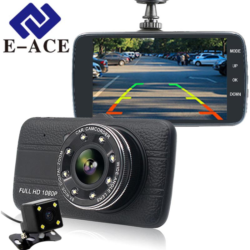 E-ACE 4.0 Inch Dash Cam Rear View Mirror Camera Full HD 1080 P Car Dvr With Two Cameras Automotive Video Recorder Car Registrars