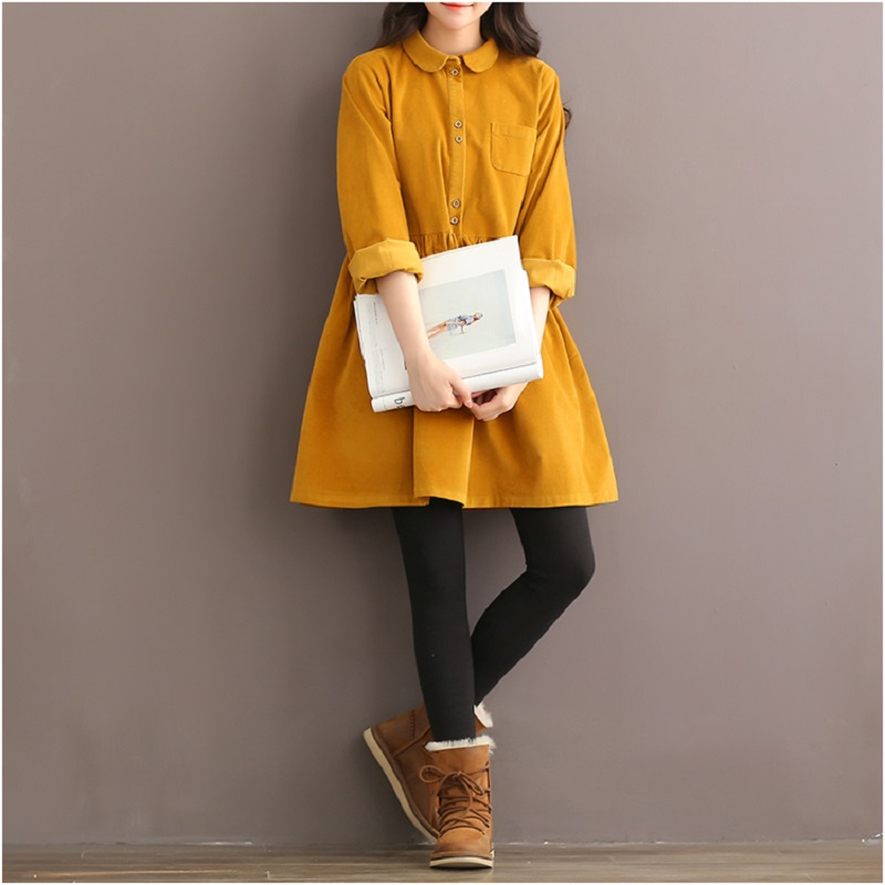 2017 Spring Autumn Women Mini Dress Turn Down Collar Pure Color Corduroy Vestidos Casual Loose Long
