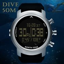Północnej krawędzi zegarek cyfrowy ekran dotykowy zegarki wodoodporna 100 M zegar Led zegarki na rękę Alarm zegar mężczyźni nurkowanie zegarki reloj hombre