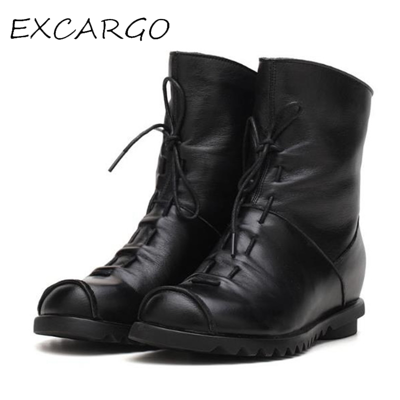 Women 2017 New Autumn & Winter Fashion Genuine Leather Handmade Retro Boots Female Short Boots Comfortable 2cm Low Heel Shoes autumn and winter new personality retro cowhide ankle boots handsome female waterproof platform genuine leather women shoes 9731