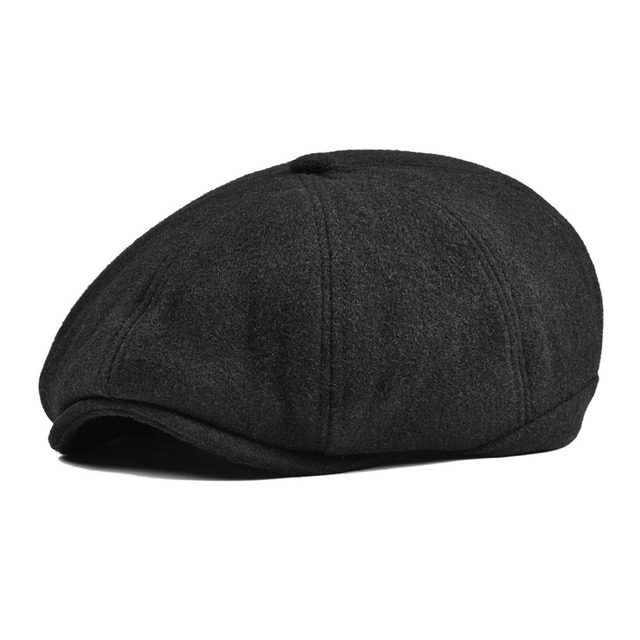 dd7b95d411 VOBOOM Black Tweed Woolen Newsboy Cap Men Women 8 Panel Country Baker Boy  Ivy Flat Cap Cabbie Beret Hats Retro Boina 111-in Newsboy Caps from Men's  ...