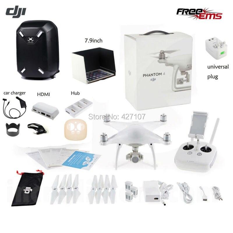 Free Shipping DJI Phantom 4 Quadcopter W/Extra Two Batteries + Hardshell Backpack Bag + HDMI+Charging Hub+More Via EMS