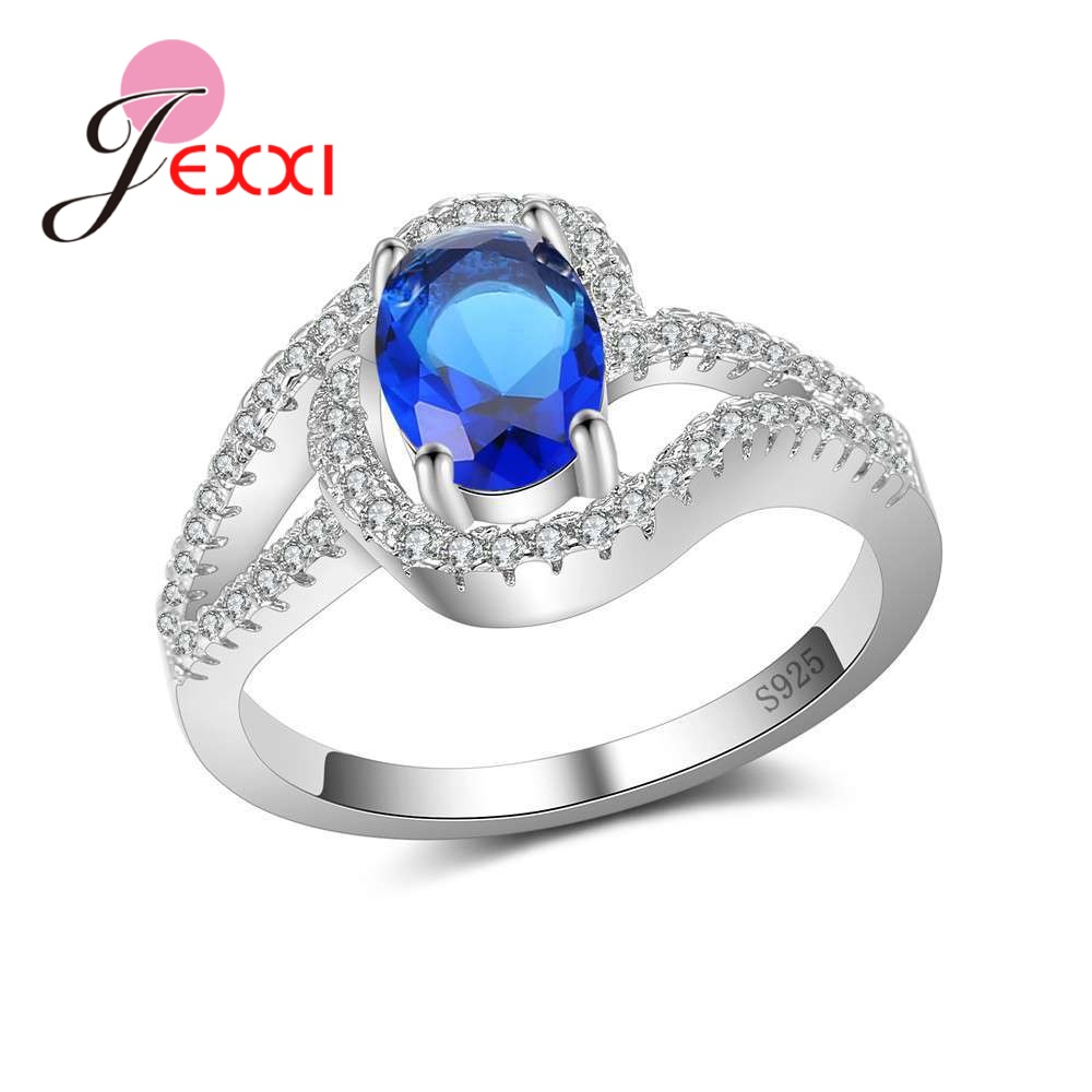JEXXI Crystal Jewelry Finger Rings Popular Good Selling 925 Sterling Silver Cubic Zirconia Better Present For Women Ladies