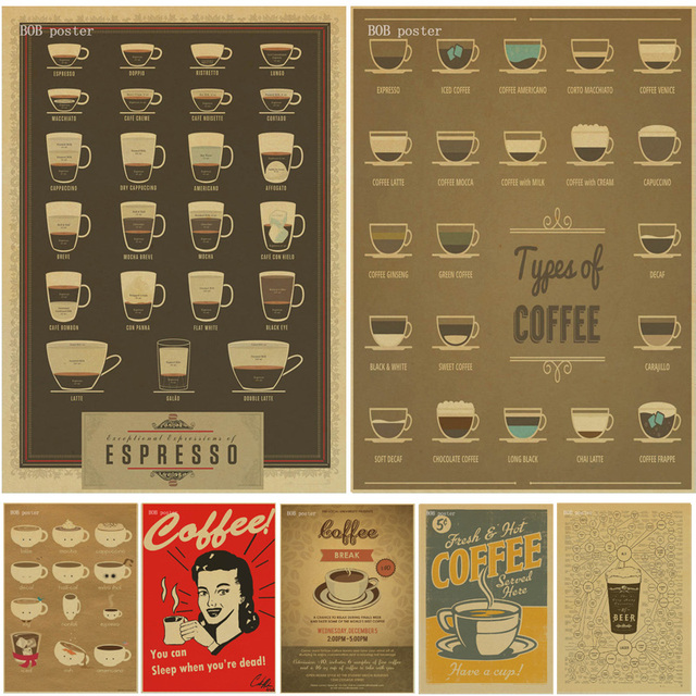 Coffee Beer Wine Collection Bars Kitchen Drawings Posters Adornment, Vintage  Poster, Wall Stickers,