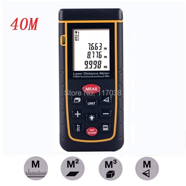 Self-calibration Level Bubble 0.05~40m 0.16 to 131ft Handheld Digital Laser Distance Meter Measurer Range Finder with M/In/Ft