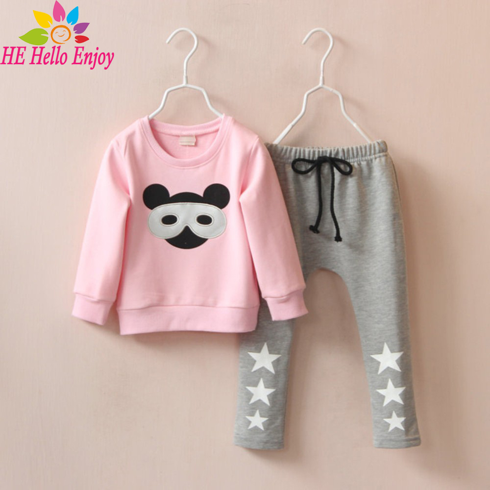 HE Hello Enjoy  girl clothing set spring 2017 brand fashion kids clothes girls cartoon Long sleeve print T-shirts + pant suits summer girls boys clothes kids set velvet hello kitty cartoon t shirt hoodies pant twinset long sleeve velour children clothing