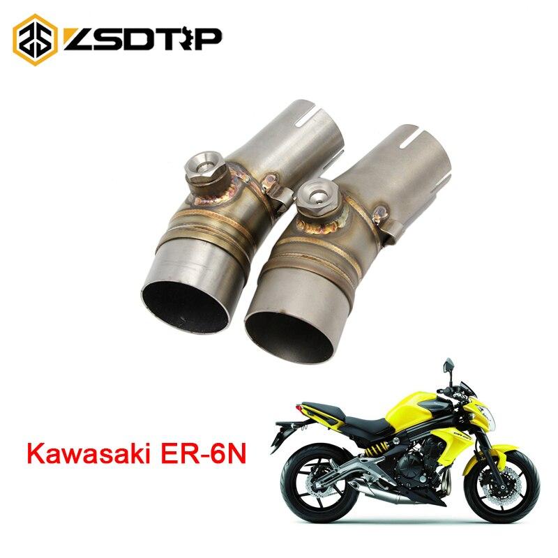 ZSDTRP 50.8mm Moto D'échappement Pipe Milieu Avec Pince Pour Kawasaki ER-6N Sans D'échappement