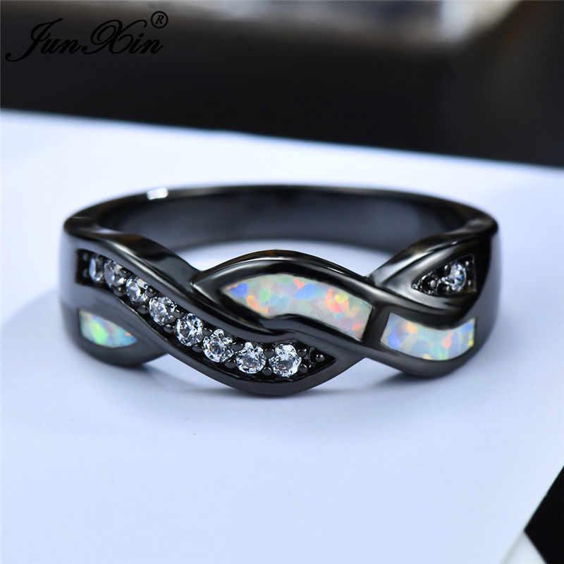 Boho Nữ Màu Xanh Trắng Cháy Opal Đá Vòng Cổ Điển Bạc Vàng Đen Nhẫn Cưới Lời Hứa Chéo Engagement Rings Cho Phụ Nữ