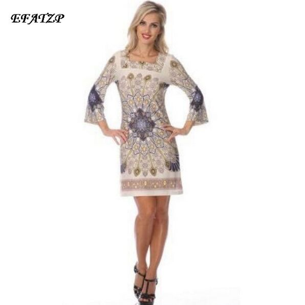 2015 Spring Runway Designer Dress Women s 3 4 Sleeves Bohemian Print Plus Size XXL Straight