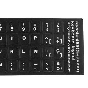 Image 2 - Autocollants clavier espagnols universels, autocollants clavier de PC fond noir pour ordinateur portable de bureau