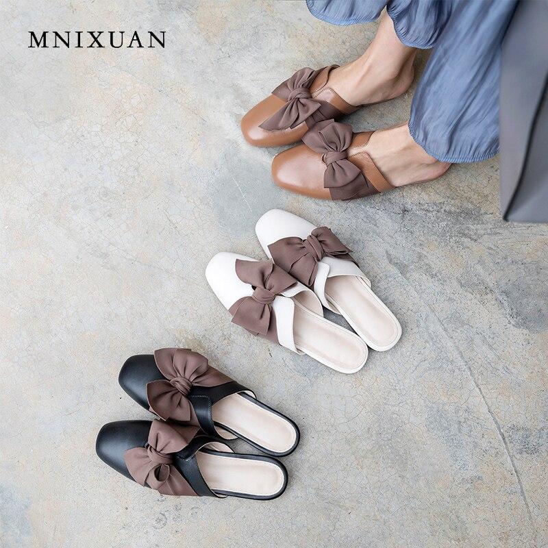 MNIXUAN Mode toevallige vrouwen platte schoenen teen muilezels slippers 2019 zomer nieuwe vierkante neus echt leer vlinder knoop schoen-in Slippers van Schoenen op  Groep 1