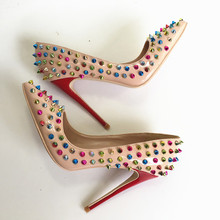 2019 Fashion free shipping nude Patent Leather spikes Poined Toe Stiletto Heel high heel shoe pump HIGH-HEELED SHOES dress