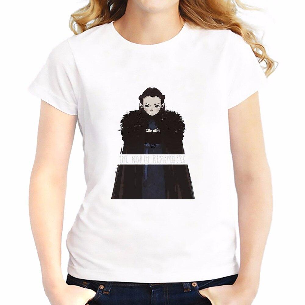 Desain t shirt unik - Gambar Tangan Pulau Utara Beruang Lucu Gadis Lyanna Mormont T Shirt Feminina Lembut Bernapas Tshirt Lengan