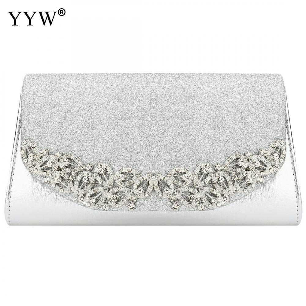 YYW Wedding-Clutch Champagne Sac Main Silver Female Gold Evening Femme Luxury Florl