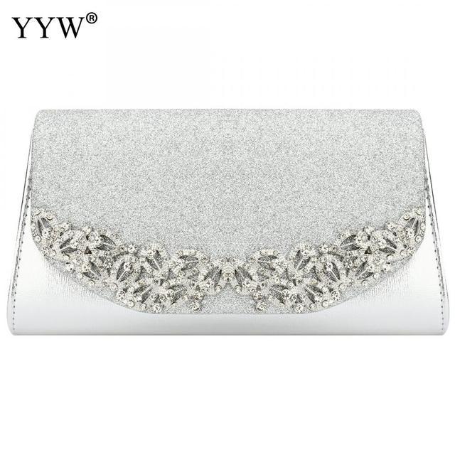 YYW Champagne Wedding Clutch Female Evening Gold Silver Wedding Bags Sac Main Femme With Luxury Florl Rhinestone Clutch Wedding