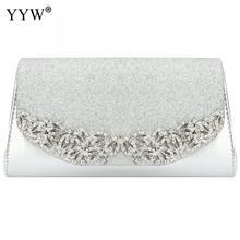 YYW 샴페인 웨딩 클러치 여성 이브닝 골드 실버 웨딩 가방은 럭셔리 Florl 라인 석 클러치 웨딩과 메인 Femme