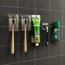 PTOC 304 нержавеющая сталь хранения стеновые стойки Крючки с присосками для зубной пасты Зубная щетка для хранения решетка-держатель