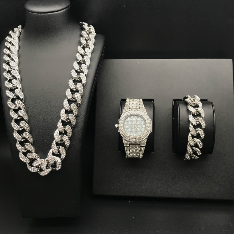 Luxury Men Gold Silver Watch Crystal Miami Ice Out Cuban Chain Gold Silver Men Watch &amp Necklace &amp Bracelet Hip Hop For Men