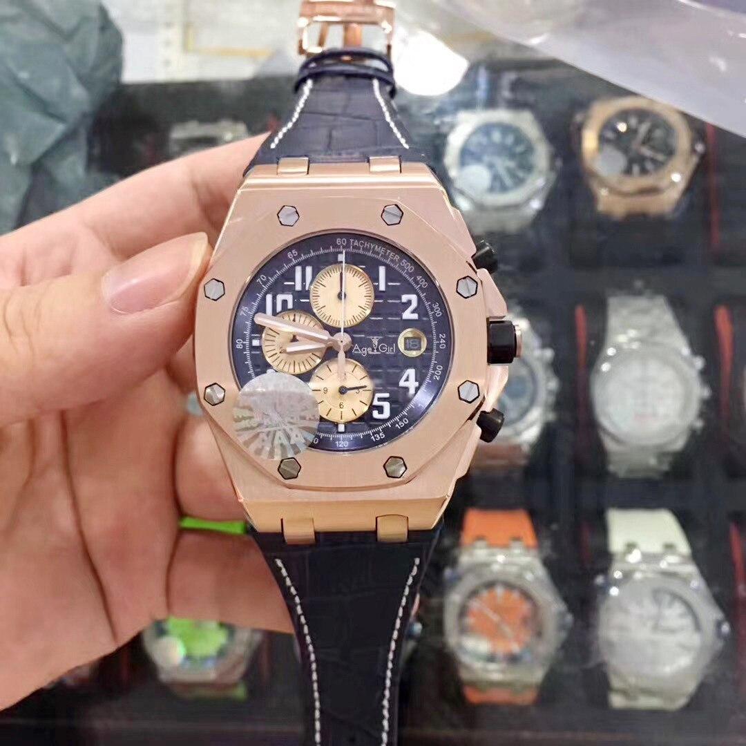 Marque de luxe nouveau marron rouge cuir chronographe hommes montre chronomètre bleu noir Rose or saphir cristal montres limité AAA +