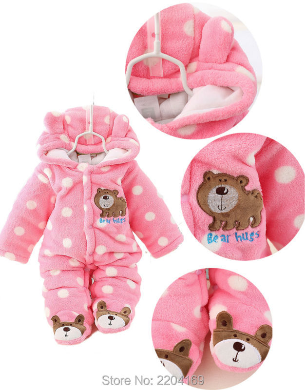 Winter Baby Rompers Warm Infant Baby Thick Outwear Newborn Pokla Dot Print Bear Hug Baby Kids Cotton Rompers Hooded  Jumpsuit