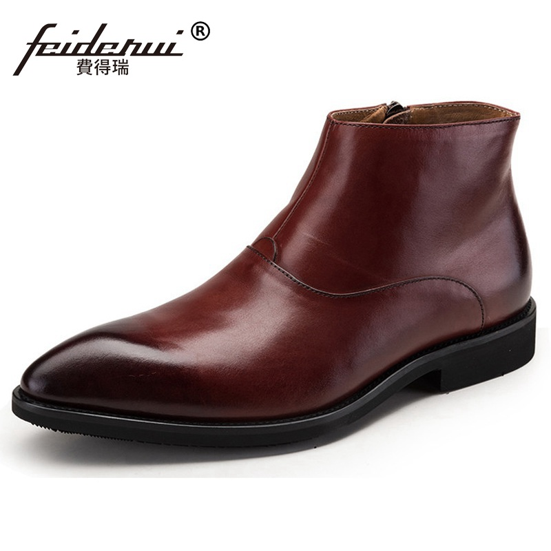 New Spring Man Luxury Brand Wedding Shoes Genuine Leather Pointed Toe Designer Men's Handmade Cowboy Martin Ankle Boots QC79 2016 new spring 100% real genuine leather formal brand man italian ankle boots men s slip on cowboy rubber shoes gl282