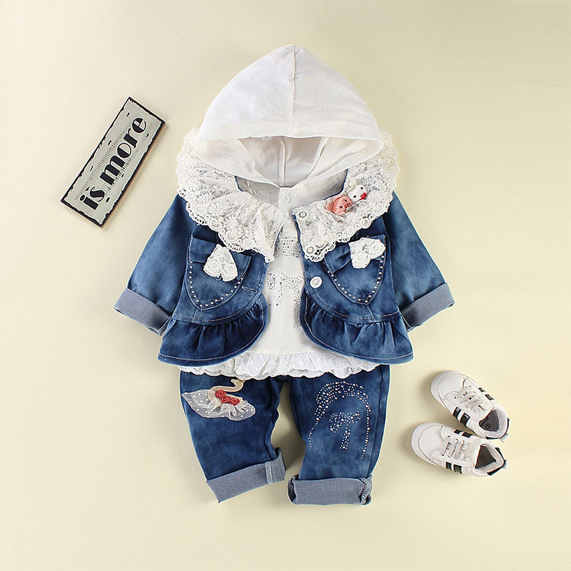 baby's 3 pieces set jeans coat jacket infant denim pants outerwear vetement bebe fille girl kid lace kit 0-3 months cowgirl harris beider race housing and community perspectives on policy and practice